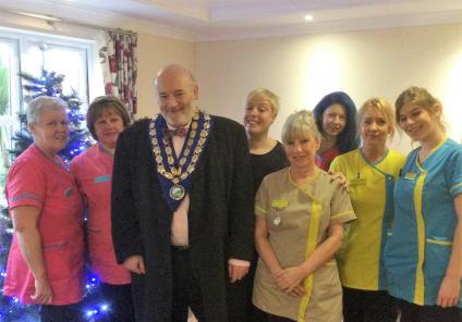 Team members with the Mayor of Westbury, Ian Cunningham