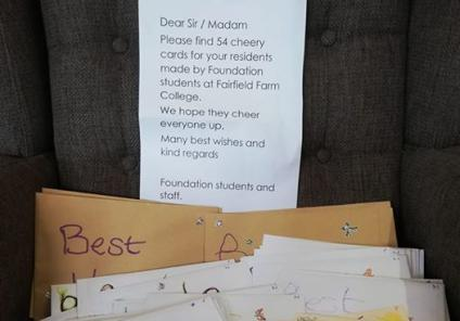 Westbury Court Care Home, Wiltshire-Our friends at Fairfield Farm College sent us 54 wonderful cards