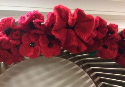 A close up of our beautiful knitted poppies