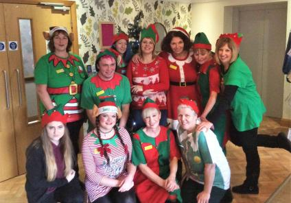 The team at Westbury Court all dressed up for Elf Day!