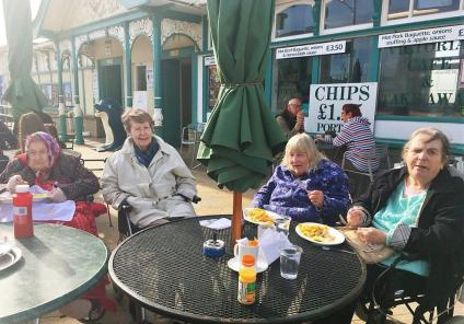 Residents at Oakfield Care home enjoy a day by the sea in Weston-super-Mare.