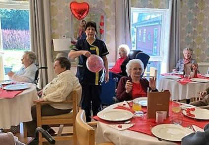 Wheaton Aston Court Care Home, Stafford. We had a special Valentine's lunch with singing