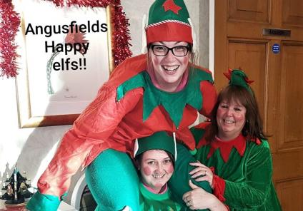 Angusfield House's cheeky elves Kelly, Sandra and Stacey are up to mischief!