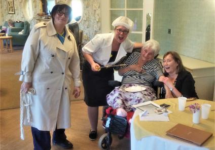 Bamfield Lodge Care Home in Whitchurch held their own live game of Cluedo dressed up as the characters! The winning team was resident Jean and daughter Lynn who guessed the killer as Mrs White, played by Georgie, Deputy Home Manager