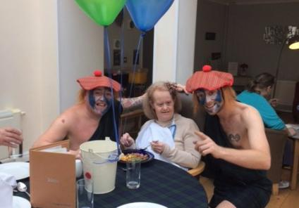 Highlands Care Home enjoyed a traditional Haggis lunch in honour of two of our residents being Scottish. Receptionist Darren and Carer Matt with resident Lilly