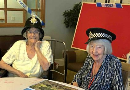 Meyrick Rise in Bournemouth solved a murder by completing puzzles riddles and challenges, with help from the Dorset Police. Residents Ethel and Sylvia celebrate as they complete another puzzle challenge!