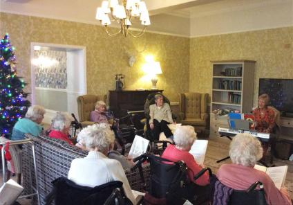 Residents at The Granby enjoyed a festive sing-a-long with entertainer Kath Kirk. Everybody has the words to the songs joining in with the carols!