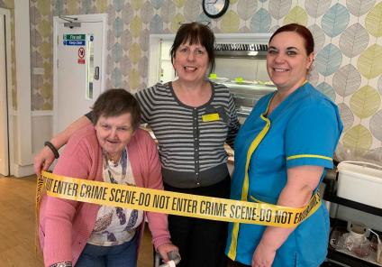 Wheaton Aston Court in Staffordshire had a fantastic afternoon solving the mystery of 'who stole the spam?'. Resident Sharon is at the scene of the crime with Deputy Manager Kate and carer Kerry