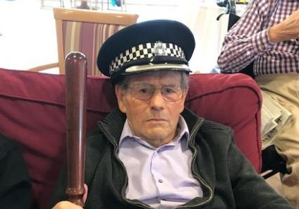 Silver Springs Care Home in Jersey had fun with their police-themed day which included quizzes and a visit from the Jersey State Police, followed by mystery wine and cheese. Resident John tries out the police hat and truncheon
