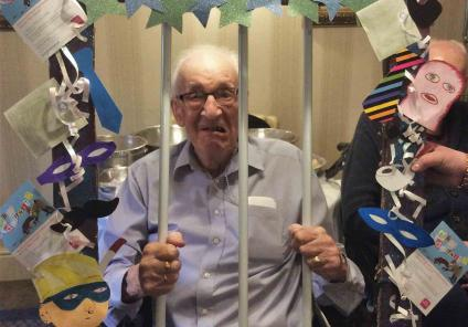 Elm Bank Care Home in Kettering enjoyed a mystery clue hunt throughout the home in teams. Resident Michael is caught behind bars!