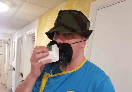 Charlotte House Care Home in Bebington were solving the mystery of 'who stole the cake'. The pesky cake thief turned out to be Care Assistant Rob - despite his disguise!