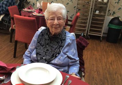 Glebefields Care Home in Banbury put on a wonderful Valentine's lunch. Resident Sheila is enjoying the special day