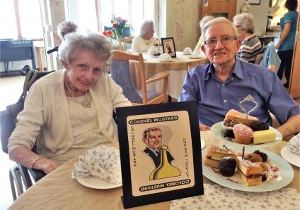 Buchanan Lodge in Bearsden enjoyed a vintage afternoon tea whilst solving a Cluedo themed mystery with each team given a different character. Team Colonel Mustard (residents Andy and Ruth) enjoying the lovely cakes!