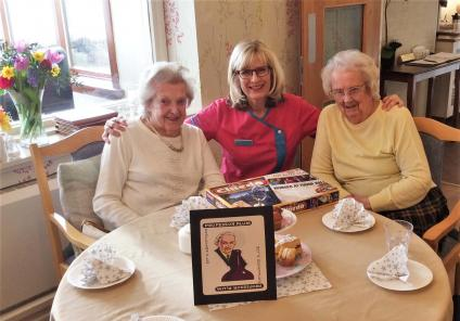 Buchanan Lodge in Bearsden enjoyed a vintage afternoon tea whilst solving a Cluedo themed mystery with each team given a different character. Residents Betty and Cathy are Team Professor Plum, with Magic Moments Club Co-ordinator Alison