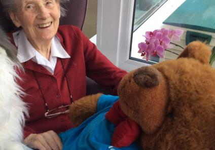 Tewkesbury Fields Care Home were tasked with finding their missing mascot Alfie! Resident Val enjoyed the team effort finding Alfie!