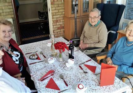 At Highfield Care Home in Ware, residents enjoyed a romantic Valentine's lunch with music playing and the table dressed beautifully!
