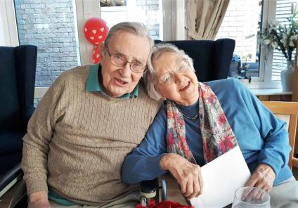 At Highfield Care Home in Ware, residents enjoyed a romantic Valentine's lunch. Residents John and Marie enjoying the happy romantic day!