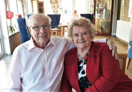 At Highfield Care Home in Ware, residents enjoyed a romantic Valentine's lunch. Residents Ron and Wendy celebrate their love