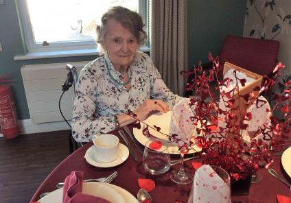 Glebefields Care Home in Banbury put on a wonderful Valentine's lunch. Resident Wynall with all the gorgeous decorations