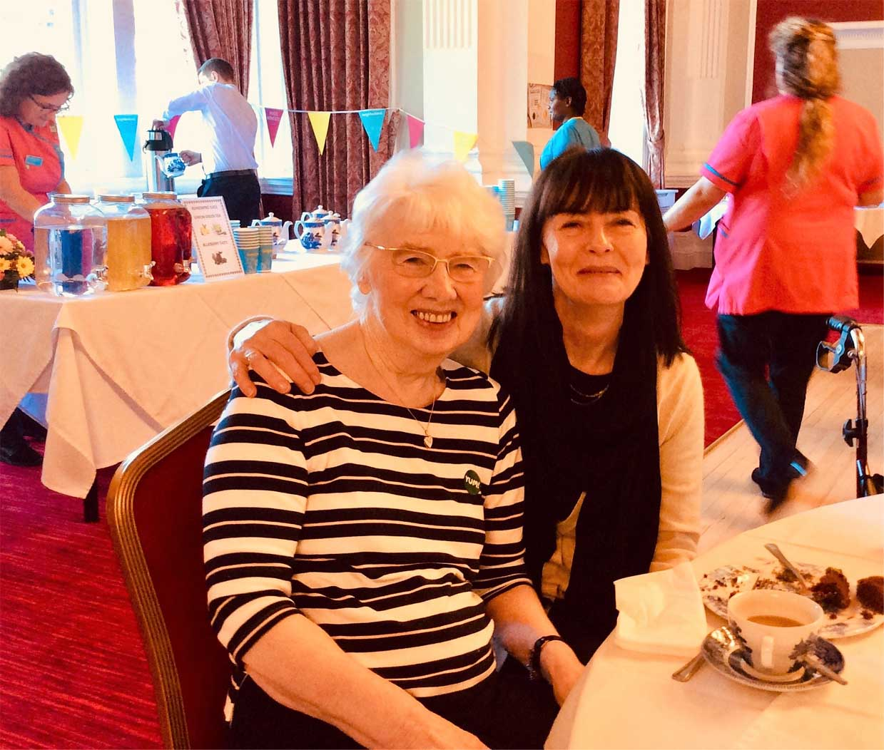 The Granby Care Home's Bake Off for Macmillan Cancer Support - Margaret Atkinson with her daughter Lesley enjoy the day