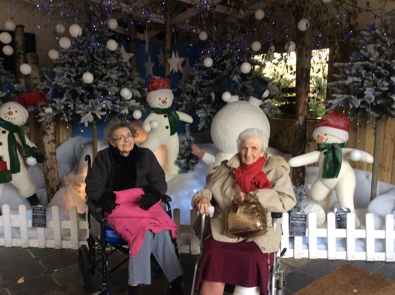 Mary and Doreen making friends with the snowmen